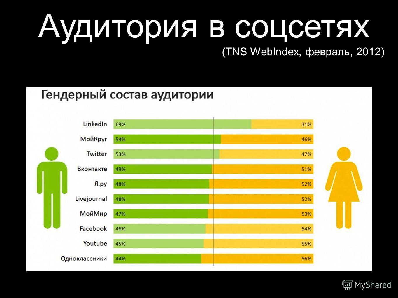 Аудитория в соцсетях (TNS WebIndex, февраль, 2012)