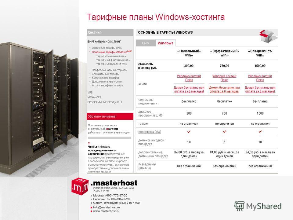 Тарифные планы Windows-хостинга