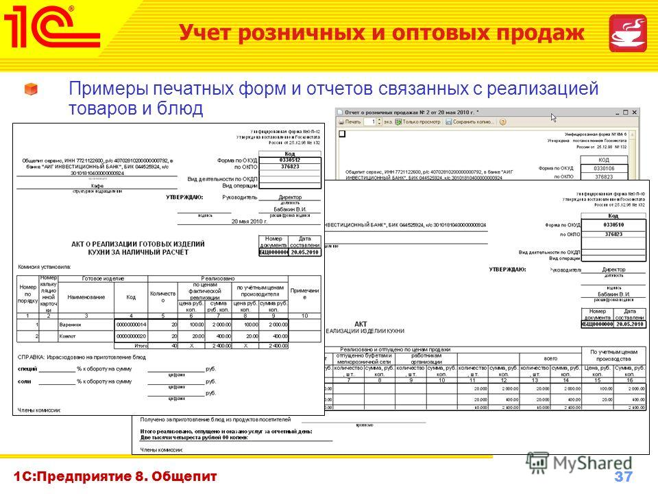 37 www.1c-menu.ru, Октябрь 2010 г. 1С:Предприятие 8. Общепит Примеры печатных форм и отчетов связанных с реализацией товаров и блюд Учет розничных и оптовых продаж