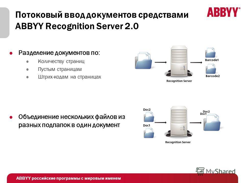 ABBYY российские программы с мировым именем Потоковый ввод документов средствами ABBYY Recognition Server 2.0 Разделение документов по: Количеству страниц Пустым страницам Штрих-кодам на страницах Объединение нескольких файлов из разных подпапок в од