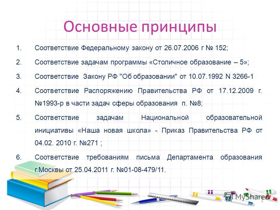 Основные принципы 1.Соответствие Федеральному закону от 26.07.2006 г 152; 2.Соответствие задачам программы «Столичное образование – 5»; 3.Соответствие Закону РФ