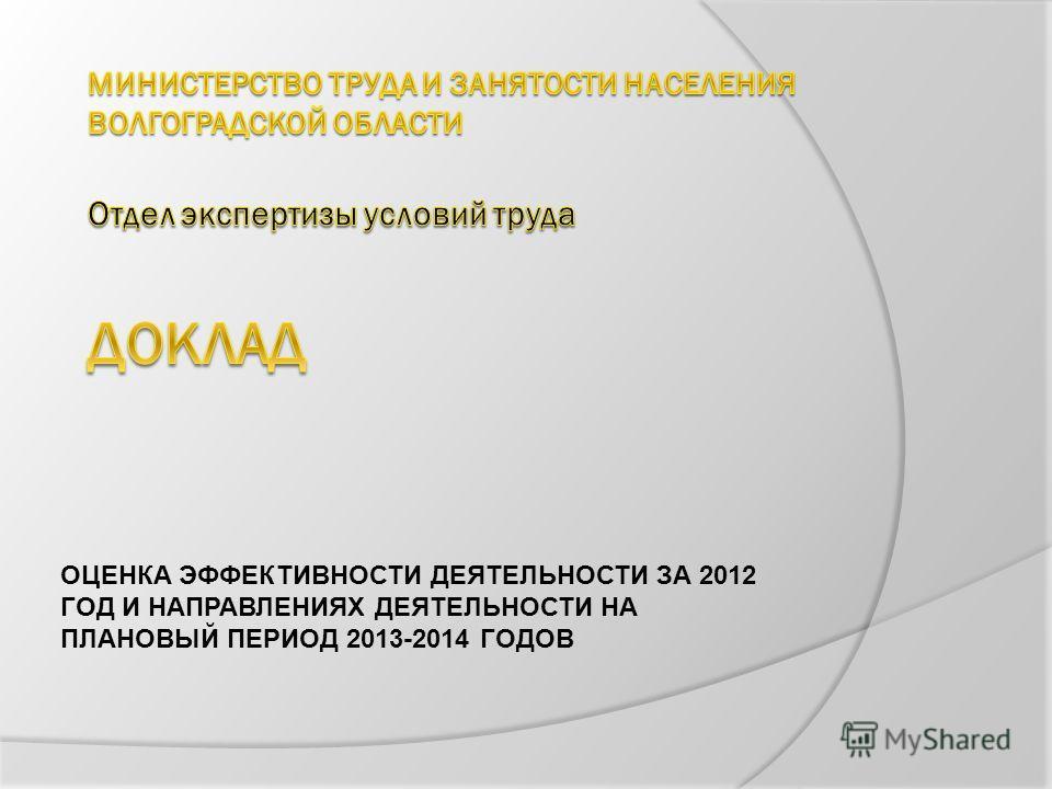 ОЦЕНКА ЭФФЕКТИВНОСТИ ДЕЯТЕЛЬНОСТИ ЗА 2012 ГОД И НАПРАВЛЕНИЯХ ДЕЯТЕЛЬНОСТИ НА ПЛАНОВЫЙ ПЕРИОД 2013-2014 ГОДОВ