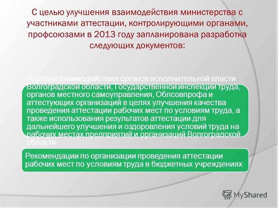 С целью улучшения взаимодействия министерства с участниками аттестации, контролирующими органами, профсоюзами в 2013 году запланирована разработка следующих документов: Порядок взаимодействия органов исполнительной власти Волгоградской области, Госуд