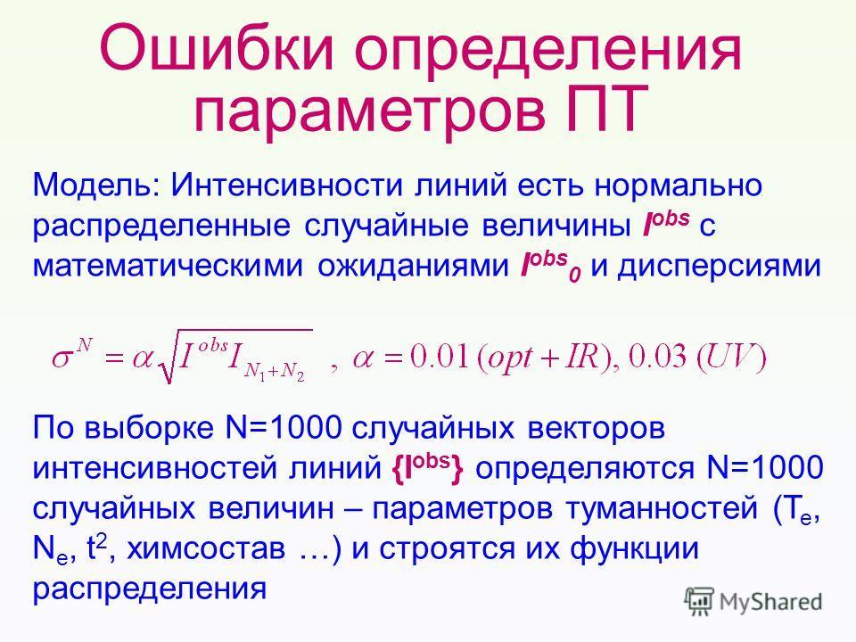 Ошибки определения параметров ПТ Модель: Интенсивности линий есть нормально распределенные случайные величины I obs с математическими ожиданиями I obs 0 и дисперсиями По выборке N=1000 случайных векторов интенсивностей линий {I obs } определяются N=1