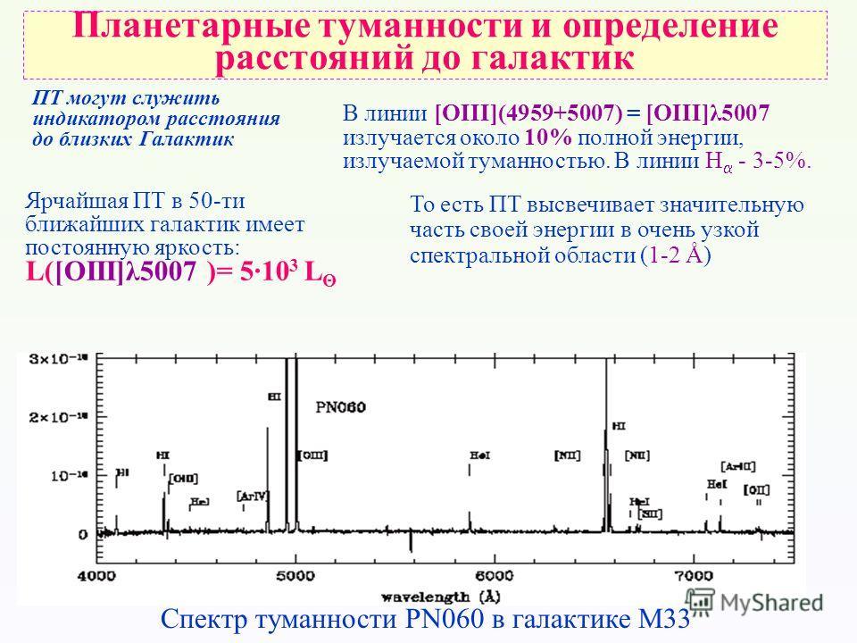 ПТ могут служить индикатором расстояния до близких Галактик Ярчайшая ПТ в 50-ти ближайших галактик имеет постоянную яркость: L([OIII]λ5007 )= 5·10 3 L Θ В линии [OIII](4959+5007) = [OIII]λ5007 излучается около 10% полной энергии, излучаемой туманност