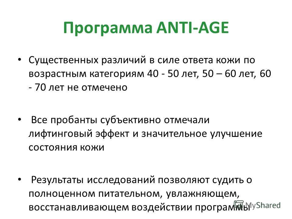 Программа ANTI-AGE Существенных различий в силе ответа кожи по возрастным категориям 40 - 50 лет, 50 – 60 лет, 60 - 70 лет не отмечено Все пробанты субъективно отмечали лифтинговый эффект и значительное улучшение состояния кожи Результаты исследовани