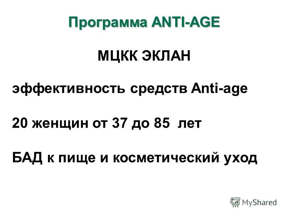 МЦКК ЭКЛАН эффективность средств Anti-age 20 женщин от 37 до 85 лет БАД к пище и косметический уход Программа ANTI-AGE
