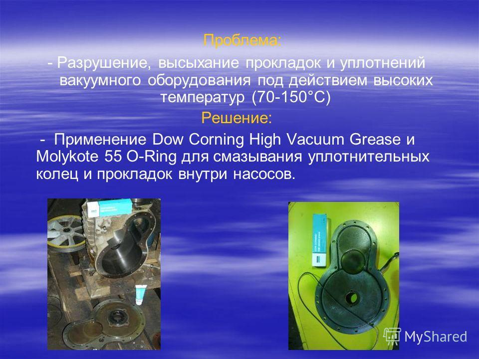 Проблема: - Разрушение, высыхание прокладок и уплотнений вакуумного оборудования под действием высоких температур (70-150°C) Решение: - Применение Dow Corning High Vacuum Grease и Molykote 55 O-Ring для смазывания уплотнительных колец и прокладок вну