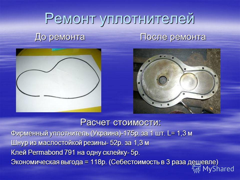 Ремонт уплотнителей До ремонта После ремонта Расчет стоимости: Фирменный уплотнитель (Украина)-175р. за 1 шт. L= 1,3 м Шнур из маслостойкой резины- 52р. за 1,3 м Клей Permabond 791 на одну склейку- 5р. Экономическая выгода = 118р. (Себестоимость в 3