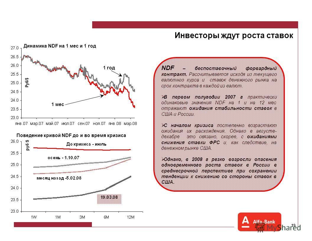 18 Страны BRIC Россия из стран BRIC демонстрирует умеренные темпы роста экономики. При этом, замедление темпов роста фондового рынка в России началось задолго до американского кризиса. Максимальный темп роста индекс РТС продемонстрировал в 2005 г.