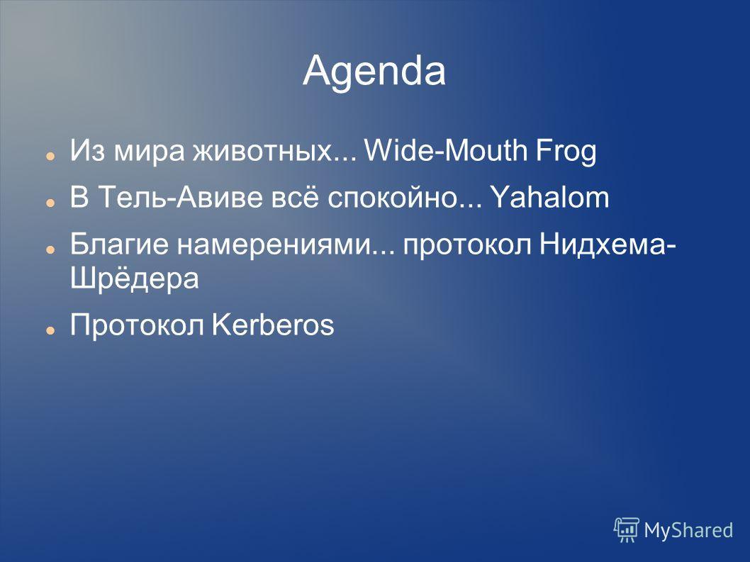 Agenda Из мира животных... Wide-Mouth Frog В Тель-Авиве всё спокойно... Yahalom Благие намерениями... протокол Нидхема- Шрёдера Протокол Kerberos