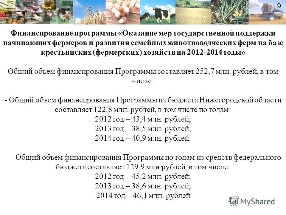 9 Финансирование программы «Оказание мер государственной поддержки начинающих фермеров и развития семейных животноводческих ферм на базе крестьянских (фермерских) хозяйств на 2012-2014 годы» Общий объем финансирования Программы составляет 252,7 млн.