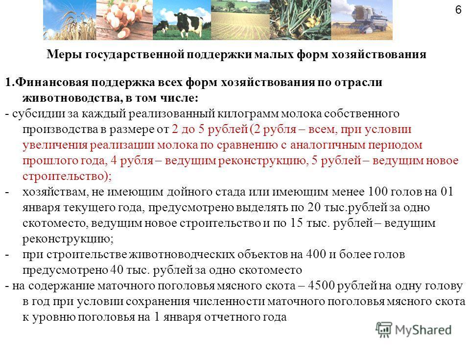 Меры государственной поддержки малых форм хозяйствования 1.Финансовая поддержка всех форм хозяйствования по отрасли животноводства, в том числе: - субсидии за каждый реализованный килограмм молока собственного производства в размере от 2 до 5 рублей