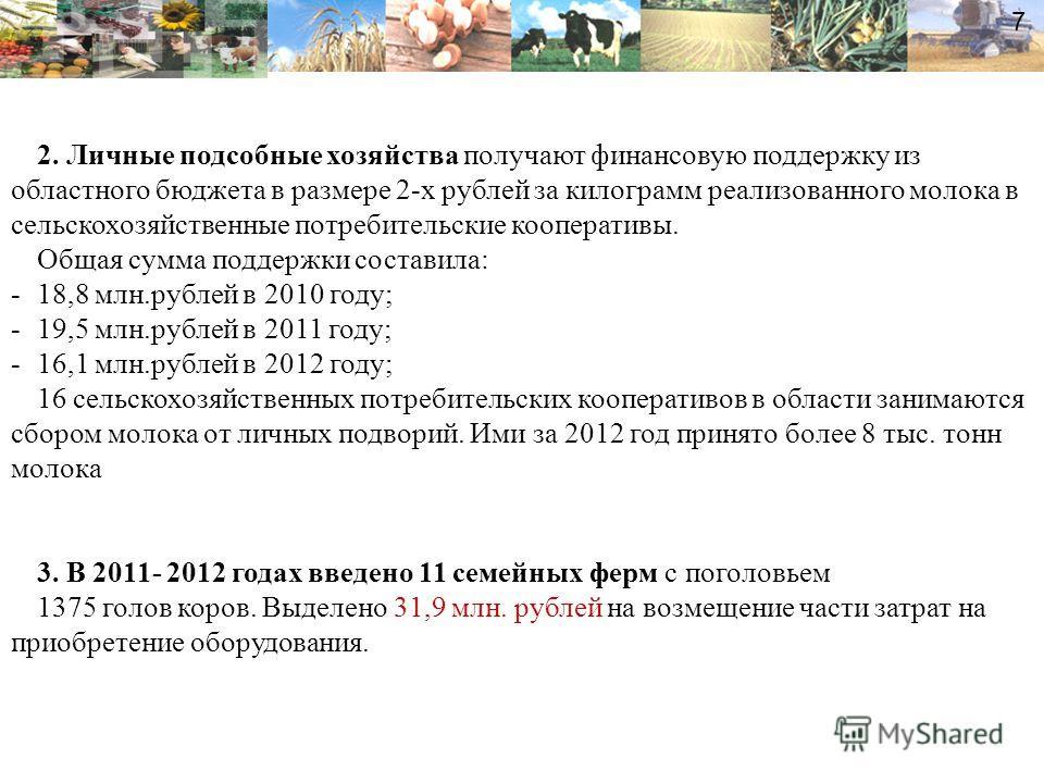 2. Личные подсобные хозяйства получают финансовую поддержку из областного бюджета в размере 2-х рублей за килограмм реализованного молока в сельскохозяйственные потребительские кооперативы. Общая сумма поддержки составила: -18,8 млн.рублей в 2010 год