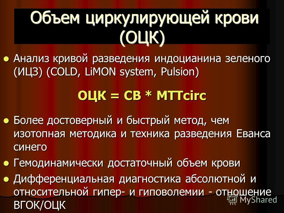 Объем циркулирующей крови (ОЦК) Объем циркулирующей крови (ОЦК) Анализ кривой разведения индоцианина зеленого (ИЦЗ) (COLD, LiMON system, Pulsion) Анализ кривой разведения индоцианина зеленого (ИЦЗ) (COLD, LiMON system, Pulsion) ОЦК = СВ * MTTcirc Бол
