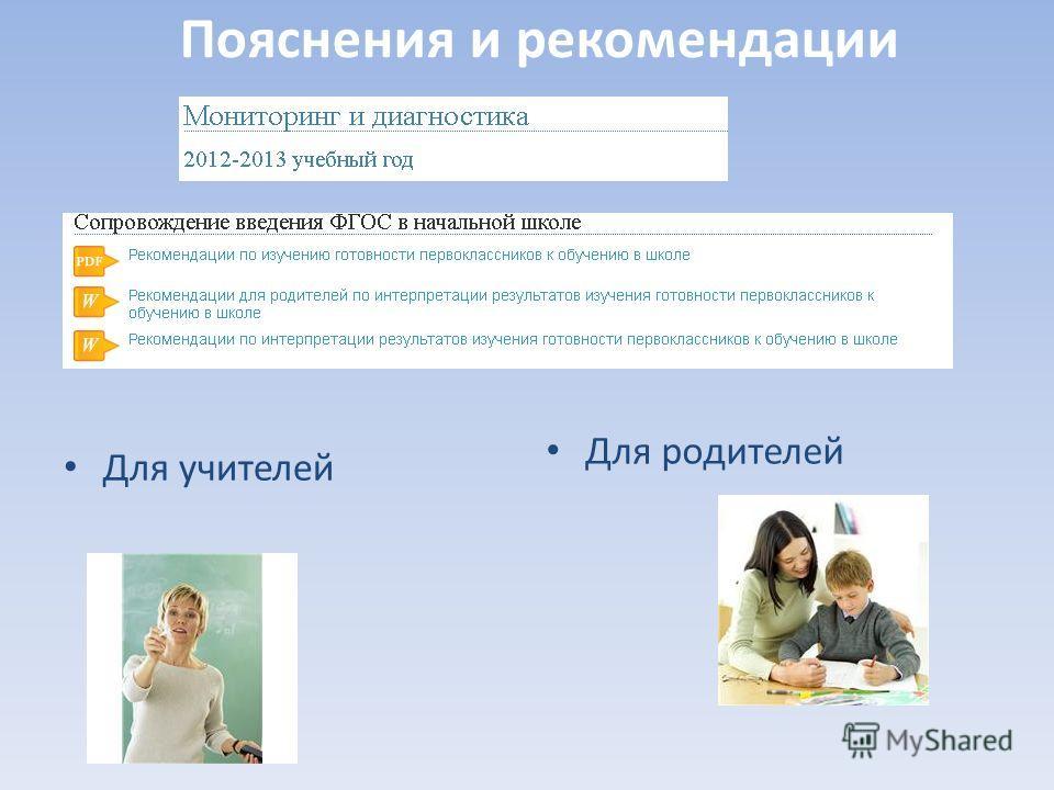 Пояснения и рекомендации Для учителей Для родителей