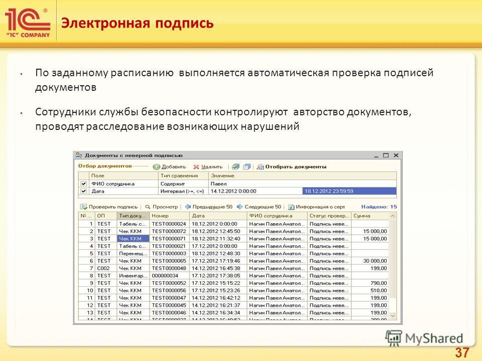 37 По заданному расписанию выполняется автоматическая проверка подписей документов Сотрудники службы безопасности контролируют авторство документов, проводят расследование возникающих нарушений Электронная подпись