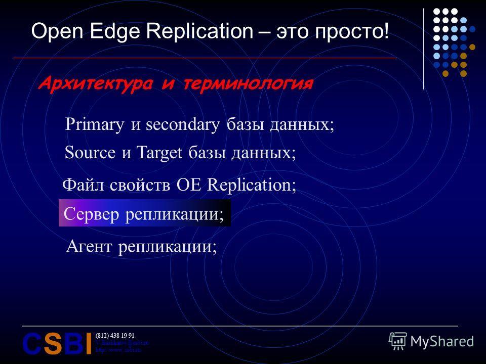 (812) 438 19 91 V.Bashkatov@csbi.ru http://www.csbi.ru CSBICSBI Open Edge Replication – это просто! Агент репликации; Архитектура и терминология Primary и secondary базы данных; Source и Target базы данных; Файл свойств OE Replication; Сервер реплика