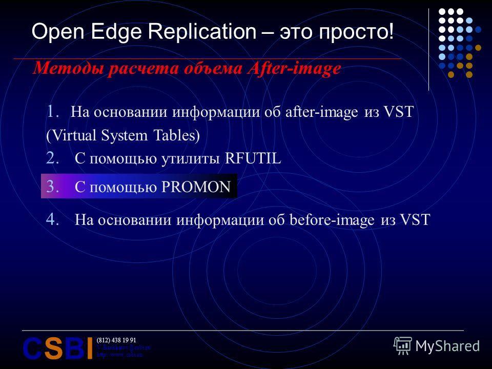 (812) 438 19 91 V.Bashkatov@csbi.ru http://www.csbi.ru CSBICSBI Open Edge Replication – это просто! Методы расчета объема After-image 2. С помощью утилиты RFUTIL 3. С помощью PROMON 4. На основании информации об before-image из VST 1. На основании ин