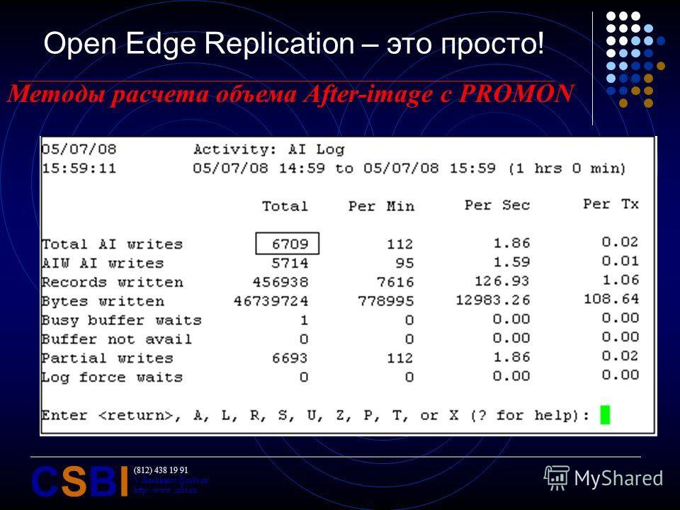 (812) 438 19 91 V.Bashkatov@csbi.ru http://www.csbi.ru CSBICSBI Open Edge Replication – это просто! Методы расчета объема After-image с PROMON