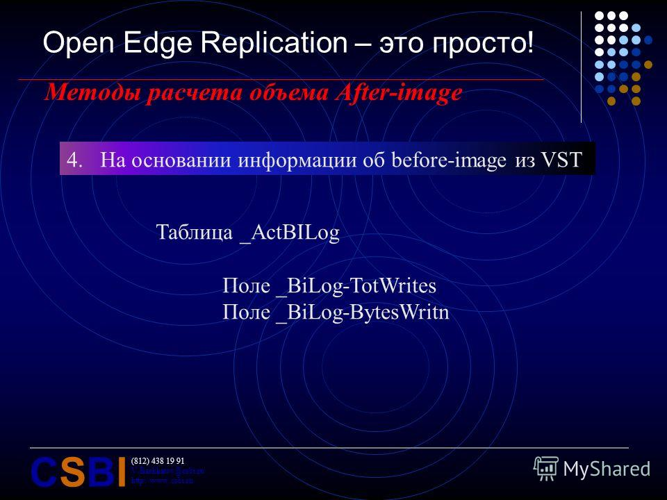 (812) 438 19 91 V.Bashkatov@csbi.ru http://www.csbi.ru CSBICSBI Open Edge Replication – это просто! Методы расчета объема After-image 4.На основании информации об before-image из VST Таблица _ActBILog Поле _BiLog-TotWrites Поле _BiLog-BytesWritn