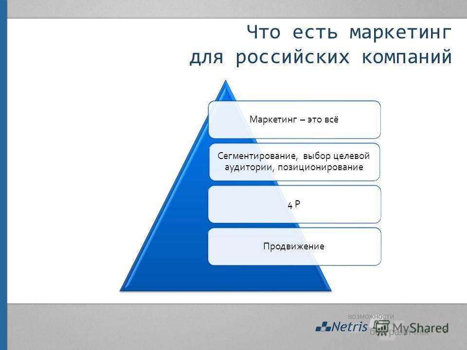 Что есть маркетинг для российских компаний Маркетинг – это всё Сегментирование, выбор целевой аудитории, позиционирование 4 PПродвижение 2