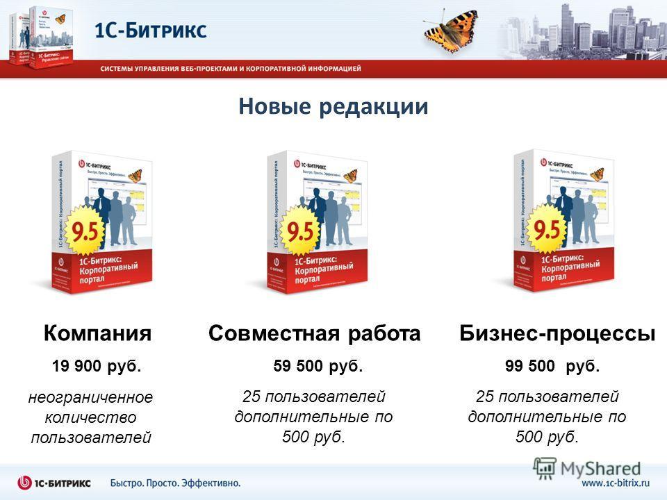 Новые редакции КомпанияСовместная работаБизнес-процессы неограниченное количество пользователей 19 900 руб.59 500 руб.99 500 руб. 25 пользователей дополнительные по 500 руб. 25 пользователей дополнительные по 500 руб.