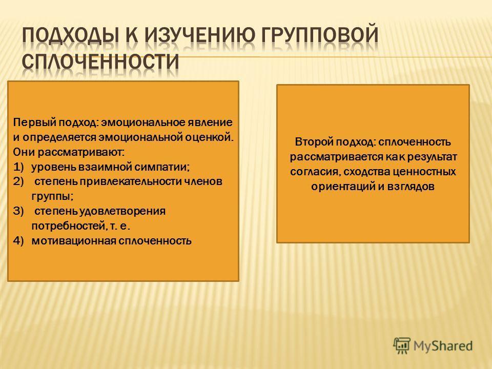 Первый подход: эмоциональное явление и определяется эмоциональной оценкой. Они рассматривают: 1)уровень взаимной симпатии; 2) степень привлекательности членов группы; 3) степень удовлетворения потребностей, т. е. 4)мотивационная сплоченность Второй п