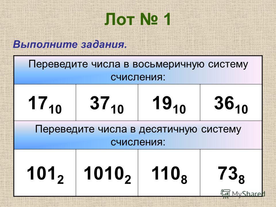 Лот 1 Выполните задания. Переведите числа в восьмеричную систему счисления: 17 10 37 10 19 10 36 10 Переведите числа в десятичную систему счисления: 101 2 1010 2 110 8 73 8