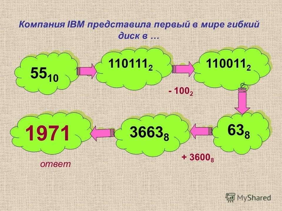 Компания IBM представила первый в мире гибкий диск в … 55 10 110111 2 110011 2 63 8 3663 8 1971 - 100 2 + 3600 8 ответ