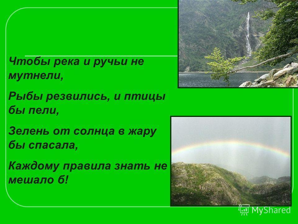 Чтобы река и ручьи не мутнели, Рыбы резвились, и птицы бы пели, Зелень от солнца в жару бы спасала, Каждому правила знать не мешало б!