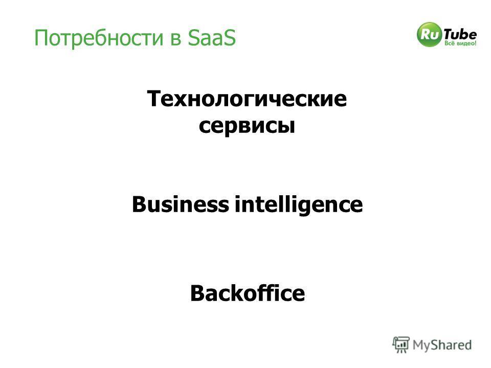 Потребности в SaaS Business intelligence Backoffice Технологические сервисы
