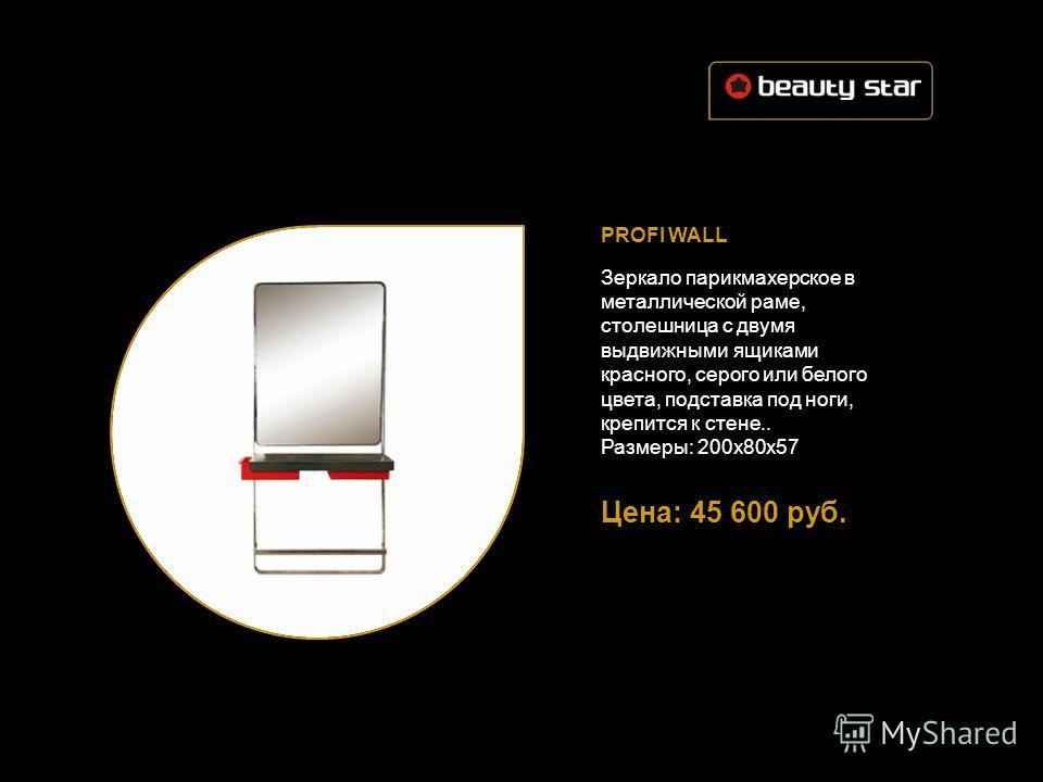 PROFI WALL Зеркало парикмахерское в металлической раме, столешница с двумя выдвижными ящиками красного, серого или белого цвета, подставка под ноги, крепится к стене.. Размеры: 200х80х57 Цена: 45 600 руб.