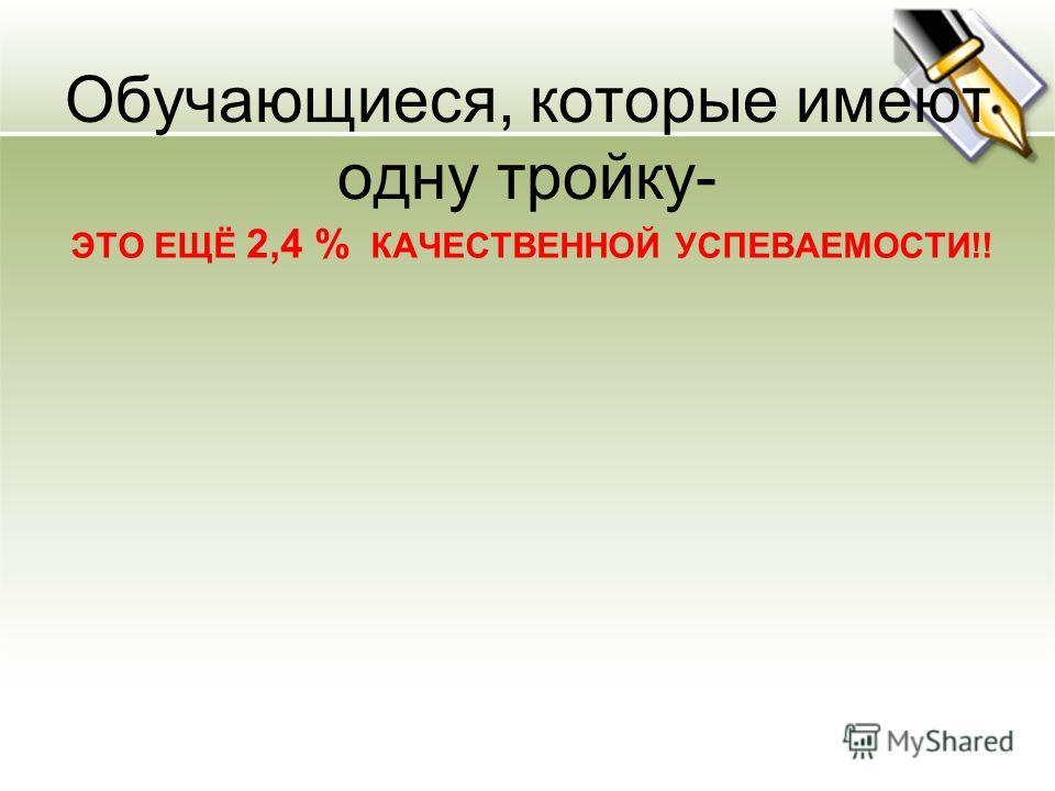 Обучающиеся, которые имеют одну тройку- ЭТО ЕЩЁ 2,4 % КАЧЕСТВЕННОЙ УСПЕВАЕМОСТИ!!