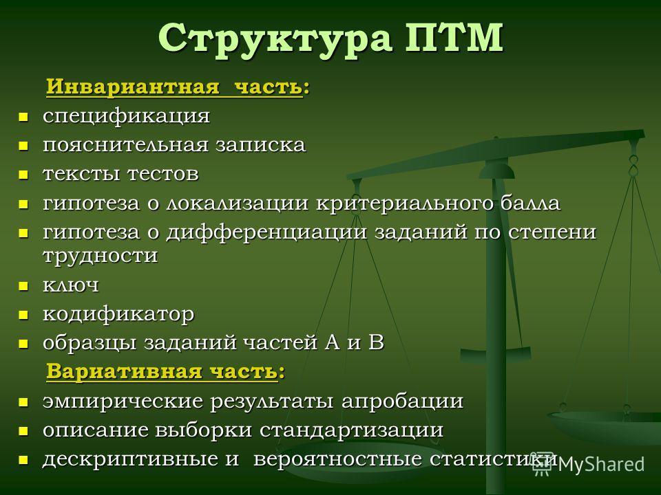 Структура ПТМ Инвариантная часть: Инвариантная часть: спецификация спецификация пояснительная записка пояснительная записка тексты тестов тексты тестов гипотеза о локализации критериального балла гипотеза о локализации критериального балла гипотеза о
