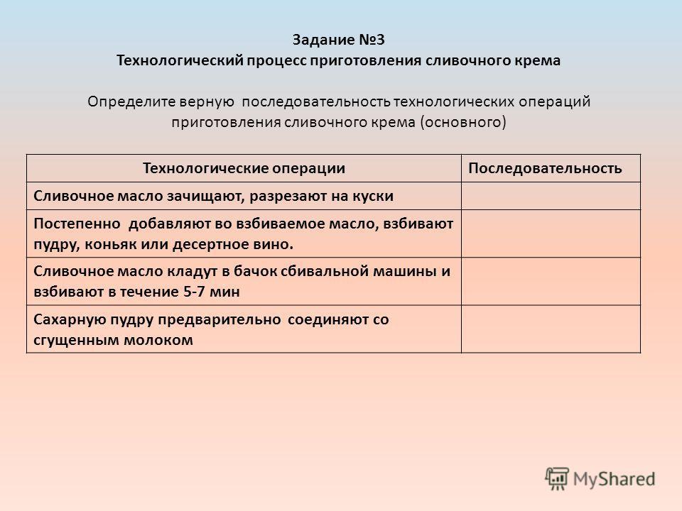 Задание 3 Технологический процесс приготовления сливочного крема Определите верную последовательность технологических операций приготовления сливочного крема (основного) Технологические операцииПоследовательность Сливочное масло зачищают, разрезают н