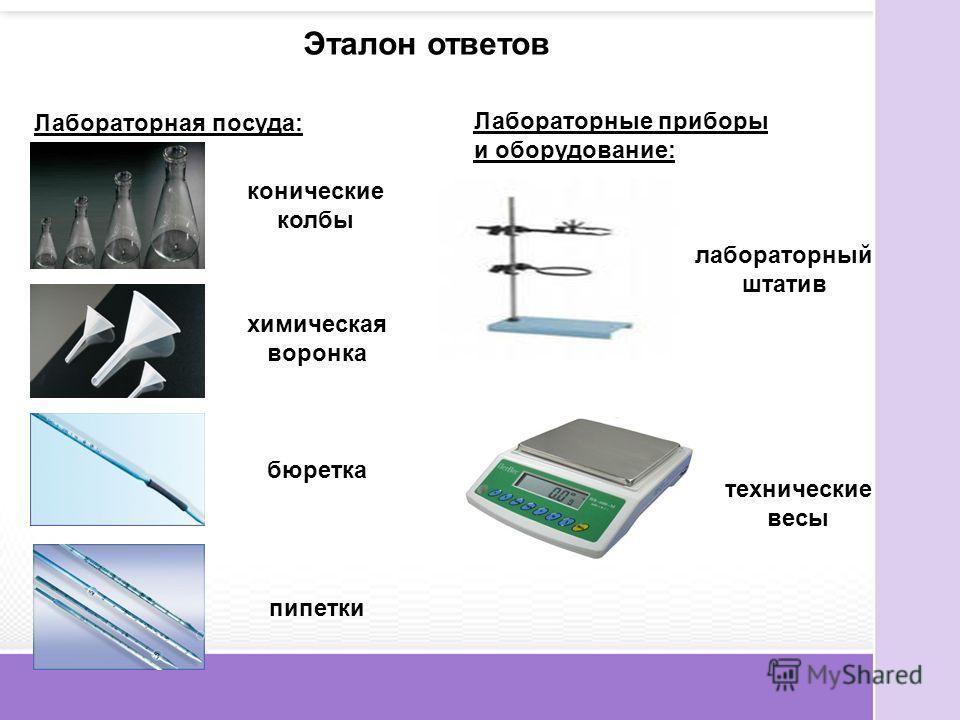 Эталон ответов Лабораторная посуда: конические колбы химическая воронка бюретка пипетки Лабораторные приборы и оборудование: лабораторный штатив технические весы