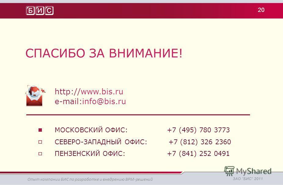 СПАСИБО ЗА ВНИМАНИЕ! http://www.bis.ru e-mail:info@bis.ru МОСКОВСКИЙ ОФИС: +7 (495) 780 3773 СЕВЕРО-ЗАПАДНЫЙ ОФИС: +7 (812) 326 2360 ПЕНЗЕНСКИЙ ОФИС: +7 (841) 252 0491 20 Опыт компании БИС по разработке и внедрению BPM-решений