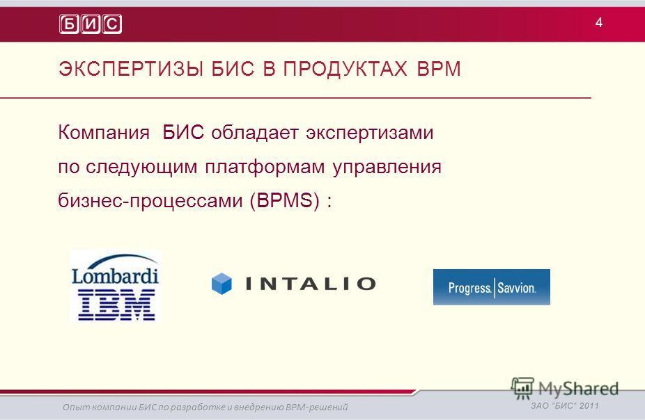 Компания БИС обладает экспертизами по следующим платформам управления бизнес-процессами (BPMS) : 4 Опыт компании БИС по разработке и внедрению BPM-решений ЭКСПЕРТИЗЫ БИС В ПРОДУКТАХ BPM
