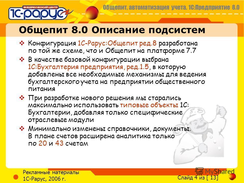 Общепит, автоматизация учета. 1С:Предприятие 8.0 Слайд 4 из [ 13] Рекламные материалы 1С-Рарус, 2006 г. Общепит 8.0 Описание подсистем Конфигурация 1С-Рарус:Общепит ред.8 разработана по той же схеме, что и Общепит на платформе 7.7 В качестве базовой