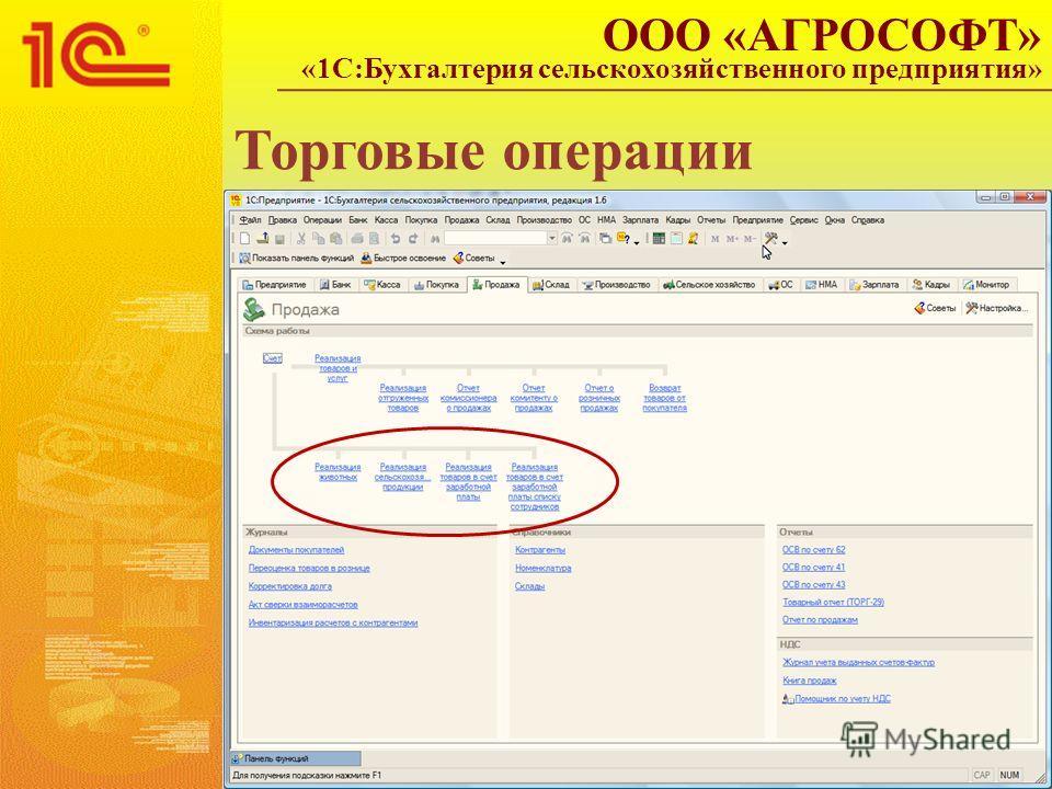 Торговые операции ООО «АГРОСОФТ» «1С:Бухгалтерия сельскохозяйственного предприятия»