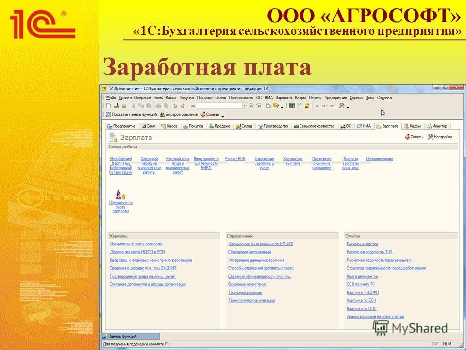 Заработная плата ООО «АГРОСОФТ» «1С:Бухгалтерия сельскохозяйственного предприятия»