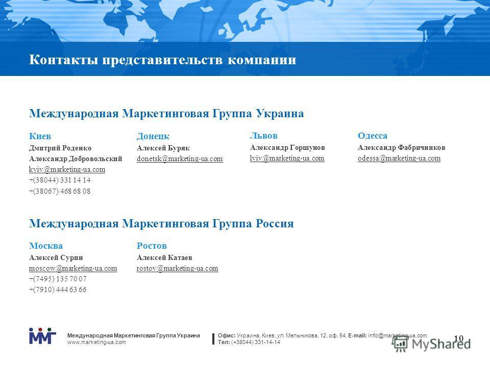 Международная Маркетинговая Группа Украина www.marketing-ua.com Офис: Украина, Киев, ул. Мельникова, 12, оф. 64. E-mail: info@marketing-ua.com Тел: (+38044) 331-14-14 10 Контакты представительств компании Международная Маркетинговая Группа Украина Ки