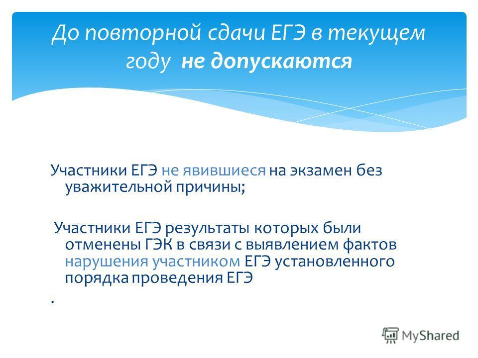 Участники ЕГЭ не явившиеся на экзамен без уважительной причины; Участники ЕГЭ результаты которых были отменены ГЭК в связи с выявлением фактов нарушения участником ЕГЭ установленного порядка проведения ЕГЭ. До повторной сдачи ЕГЭ в текущем году не до