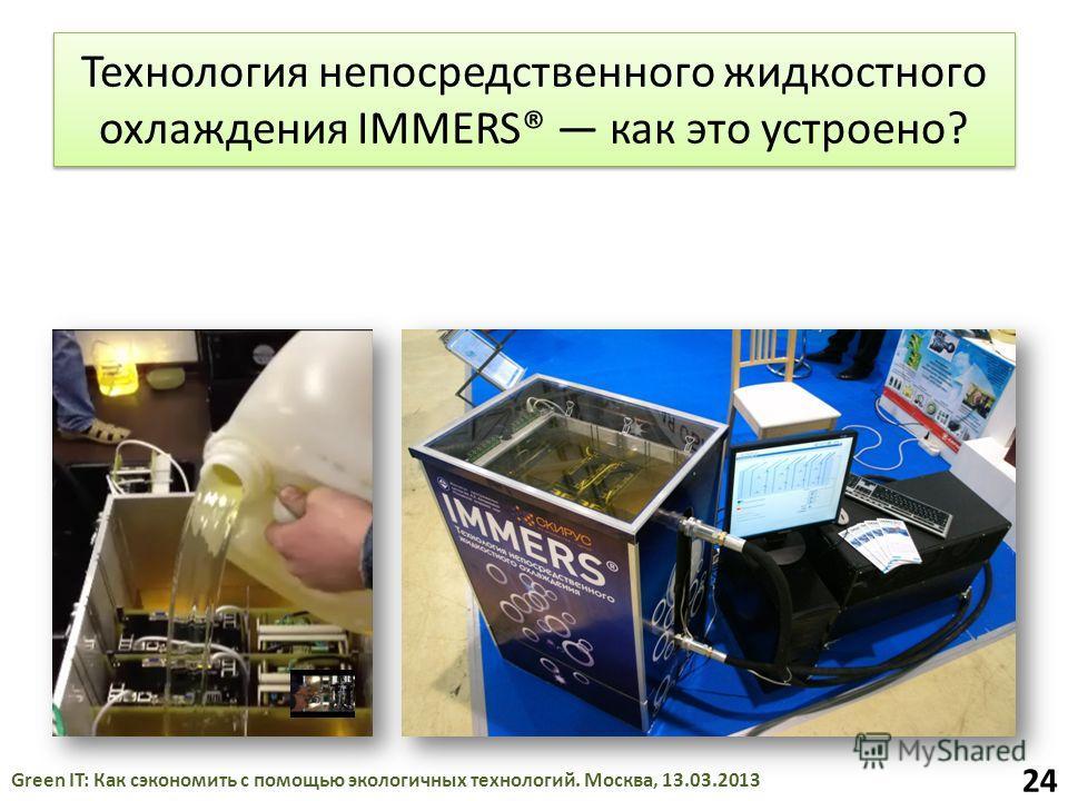 Технология непосредственного жидкостного охлаждения IMMERS® как это устроено? Green IT: Как сэкономить с помощью экологичных технологий. Москва, 13.03.2013 24