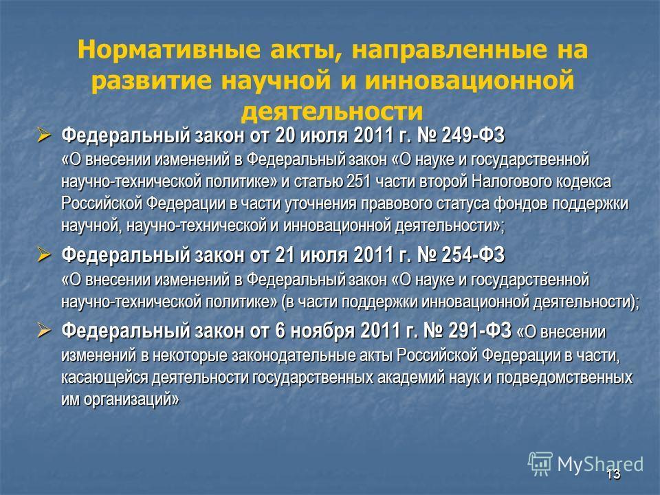 1313 Федеральный закон от 20 июля 2011 г. 249-ФЗ «О внесении изменений в Федеральный закон «О науке и государственной научно-технической политике» и статью 251 части второй Налогового кодекса Российской Федерации в части уточнения правового статуса ф