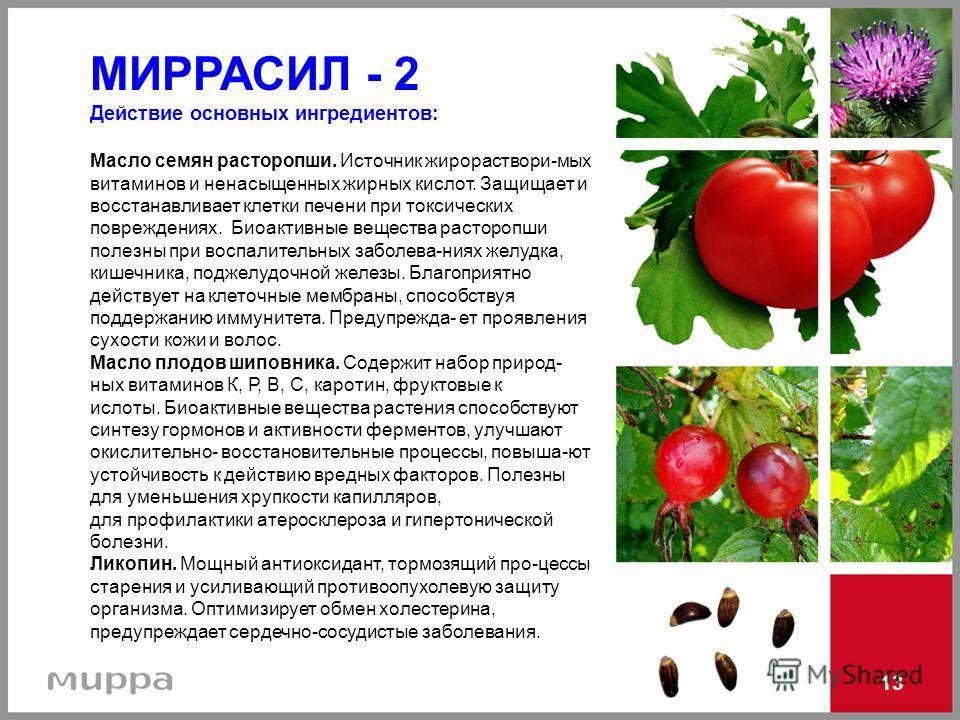 МИРРАСИЛ - 2 Действие основных ингредиентов: Масло семян расторопши. Источник жирораствори-мых витаминов и ненасыщенных жирных кислот. Защищает и восстанавливает клетки печени при токсических повреждениях. Биоактивные вещества расторопши полезны при