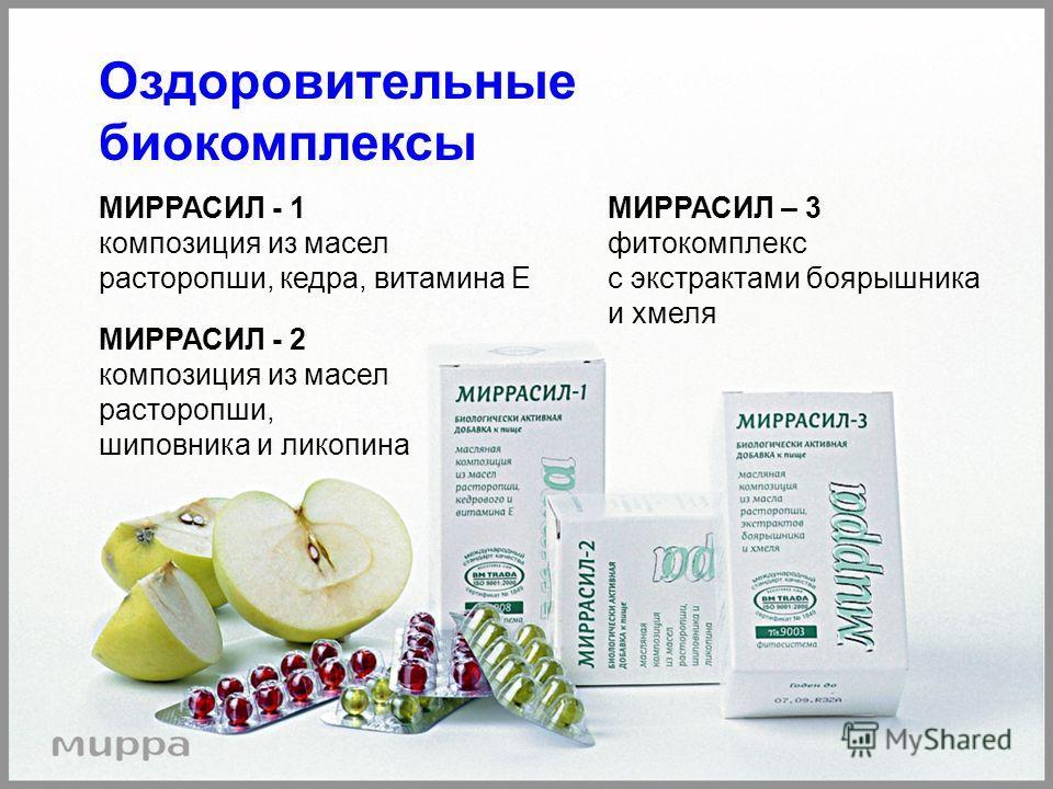 Оздоровительные биокомплексы МИРРАСИЛ - 1 композиция из масел расторопши, кедра, витамина Е МИРРАСИЛ - 2 композиция из масел расторопши, шиповника и ликопина МИРРАСИЛ – 3 фитокомплекс с экстрактами боярышника и хмеля