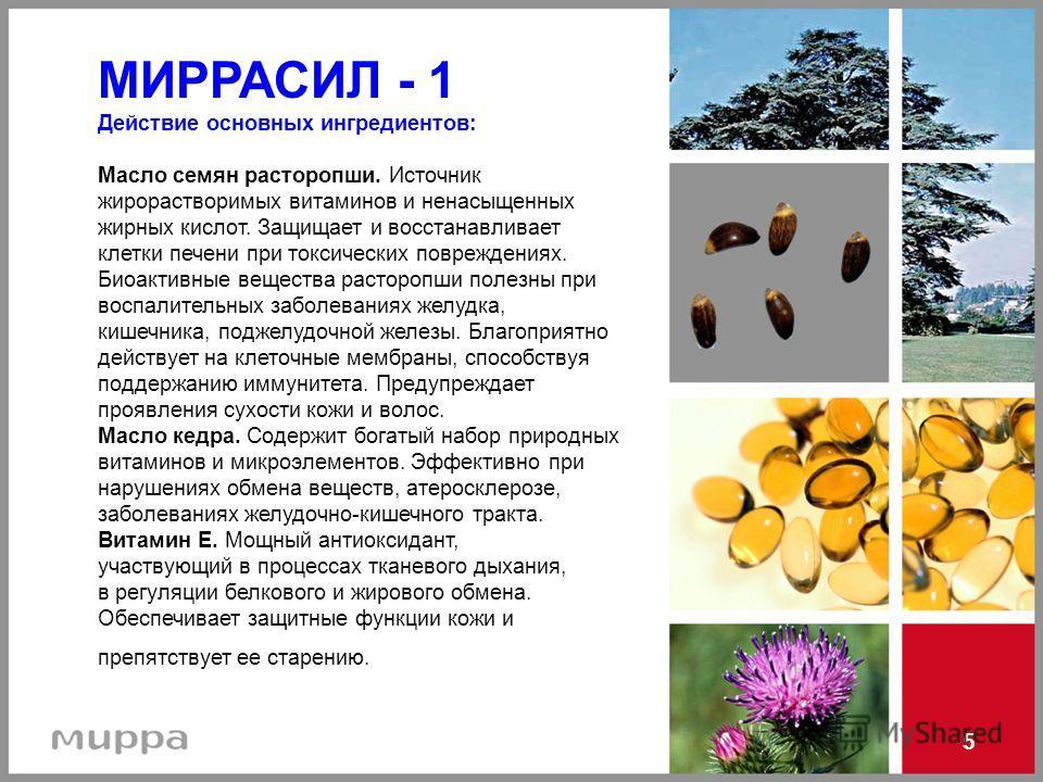 5 МИРРАСИЛ - 1 Действие основных ингредиентов: Масло семян расторопши. Источник жирорастворимых витаминов и ненасыщенных жирных кислот. Защищает и восстанавливает клетки печени при токсических повреждениях. Биоактивные вещества расторопши полезны при