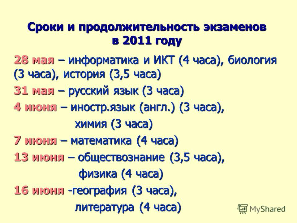 Сроки и продолжительность экзаменов в 2011 году 28 мая – информатика и ИКТ (4 часа), биология (3 часа), история (3,5 часа) 31 мая – русский язык (3 часа) 4 июня – иностр.язык (англ.) (3 часа), химия (3 часа) химия (3 часа) 7 июня – математика (4 часа